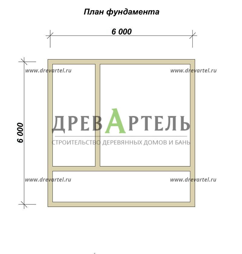 План ленточного фундамента - Проект дома из бруса 6х6 с террасой