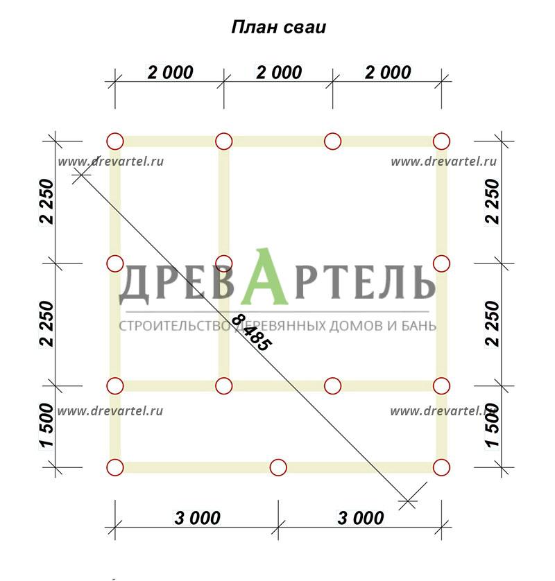 План свайного фундамента - Проект дома из бруса 6х6 с террасой