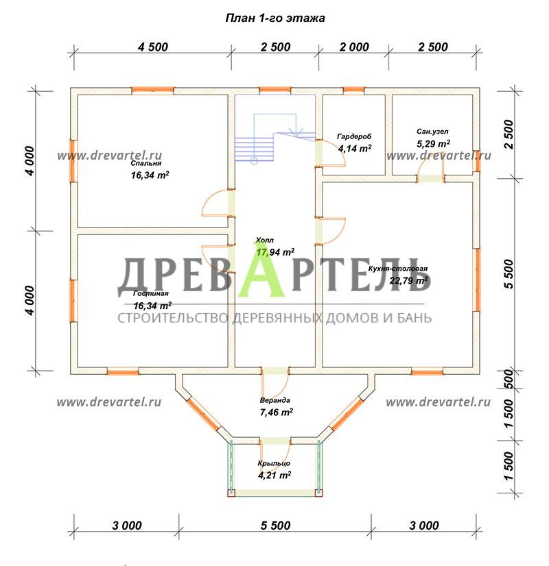 План 1-го этажа - Дом из бруса 8х11 под ключ