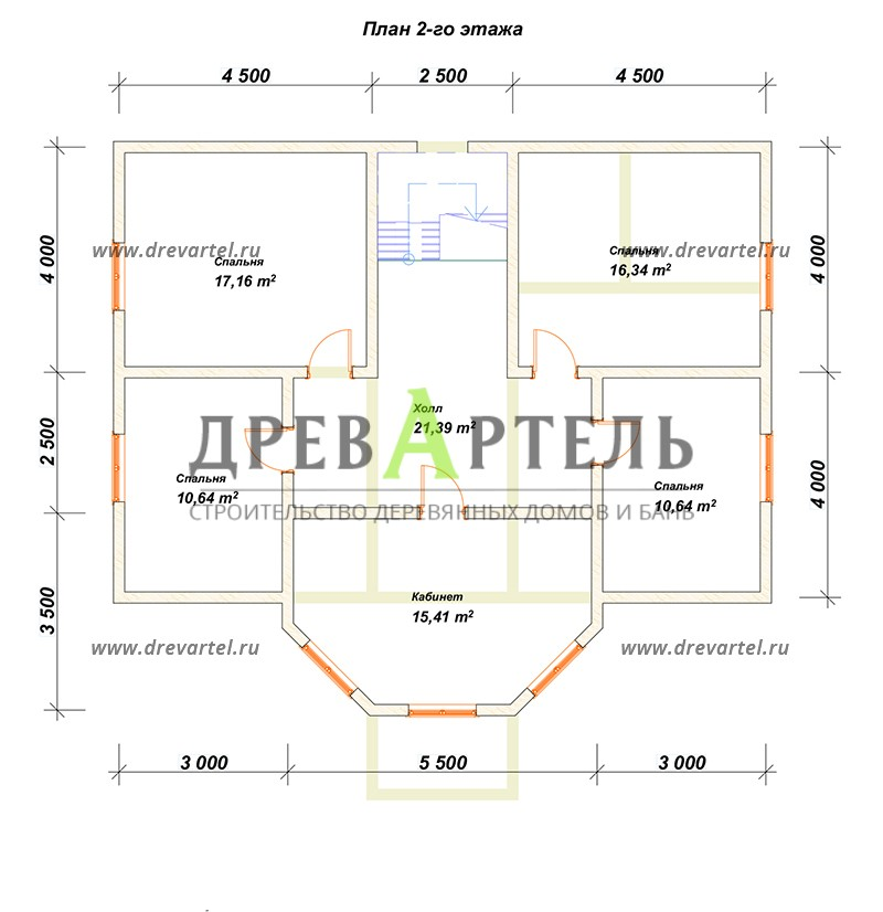 План 2-го этажа - Дом из бруса 8х11 под ключ