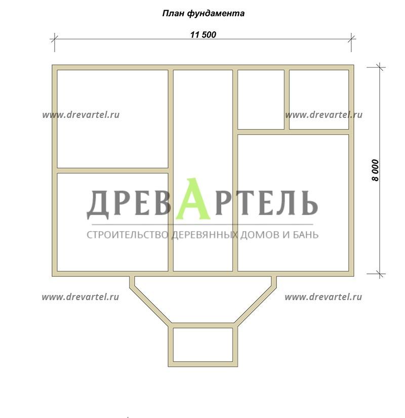 План ленточного фундамента - Дом из бруса 8х11 под ключ