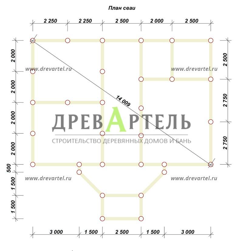 План свайного фундамента - Дом из бруса 8х11 под ключ