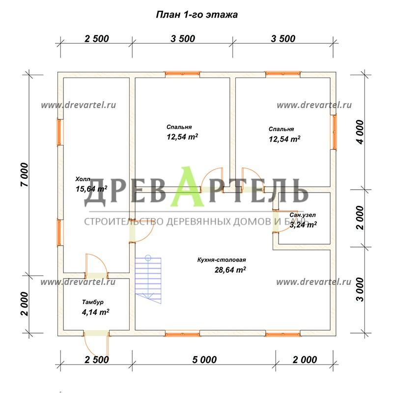 План 1-го этажа - Дом из бруса 7х9 с верандой