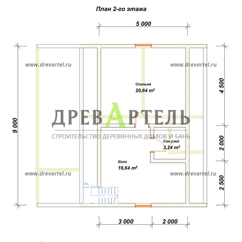 План 2-го этажа - Дом из бруса 7х9 с верандой