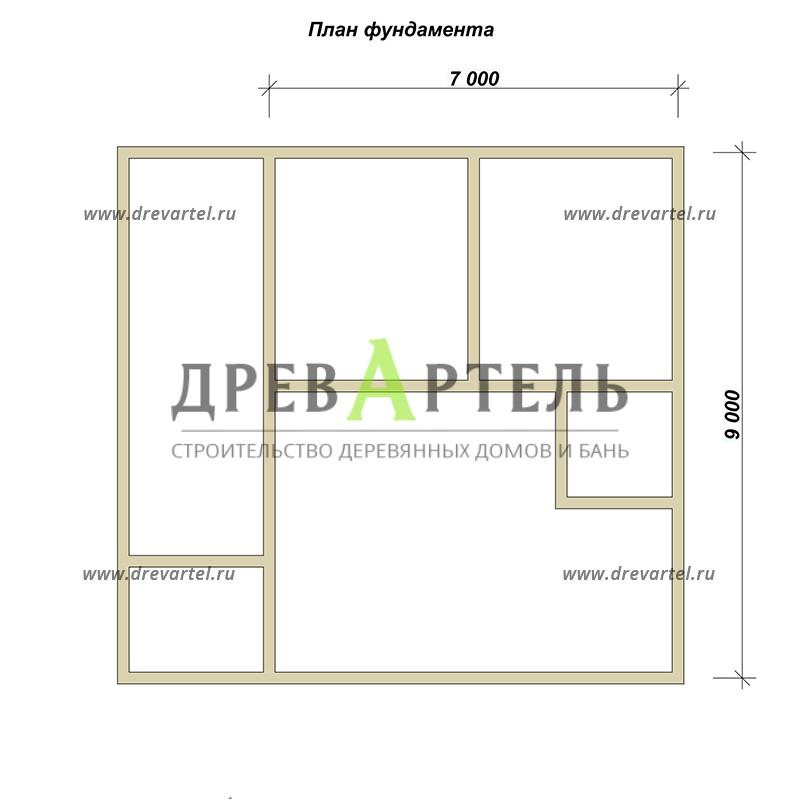 План ленточного фундамента - Дом из бруса 7х9 с верандой