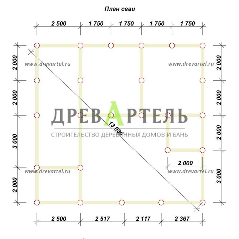 План свайного фундамента - Дом из бруса 7х9 с верандой
