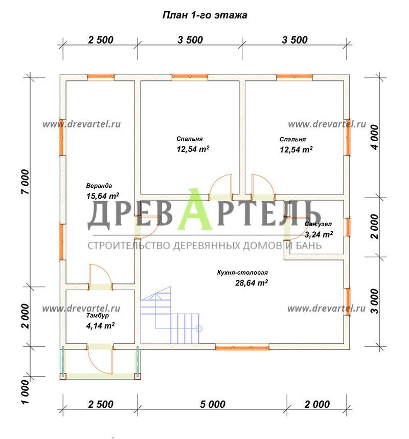 План 1-го этажа - Дачный дом из бруса 7х9
