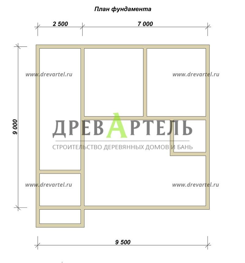 План ленточного фундамента - Дачный дом из бруса 7х9