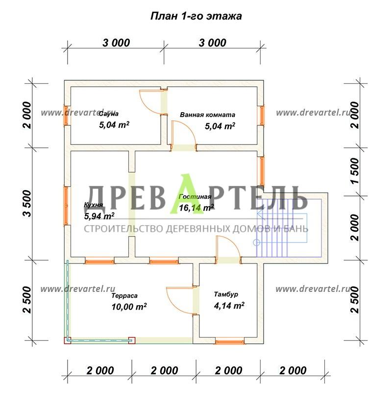 План 1-го этажа - Дом из бруса 6х8 с двухэтажным эркером