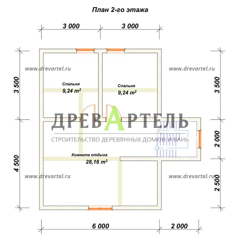 План 2-го этажа - Сруб дома из бревна 6х8