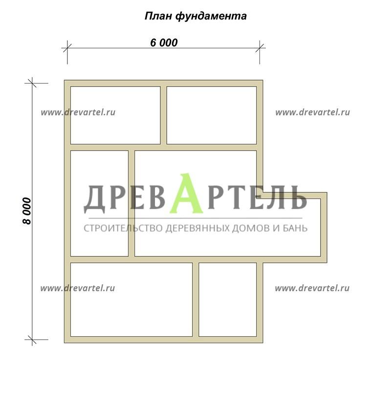 План ленточного фундамента - Дом из бруса 6х8 с двухэтажным эркером