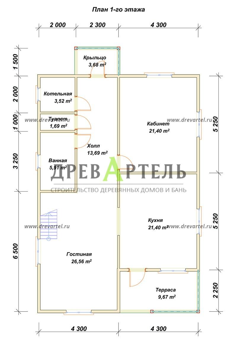 План 1-го этажа - Дом из бруса 8х12 под ключ