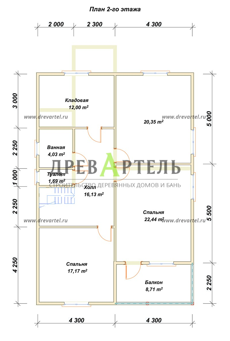 План 2-го этажа - Дом из бруса 8х12 под ключ