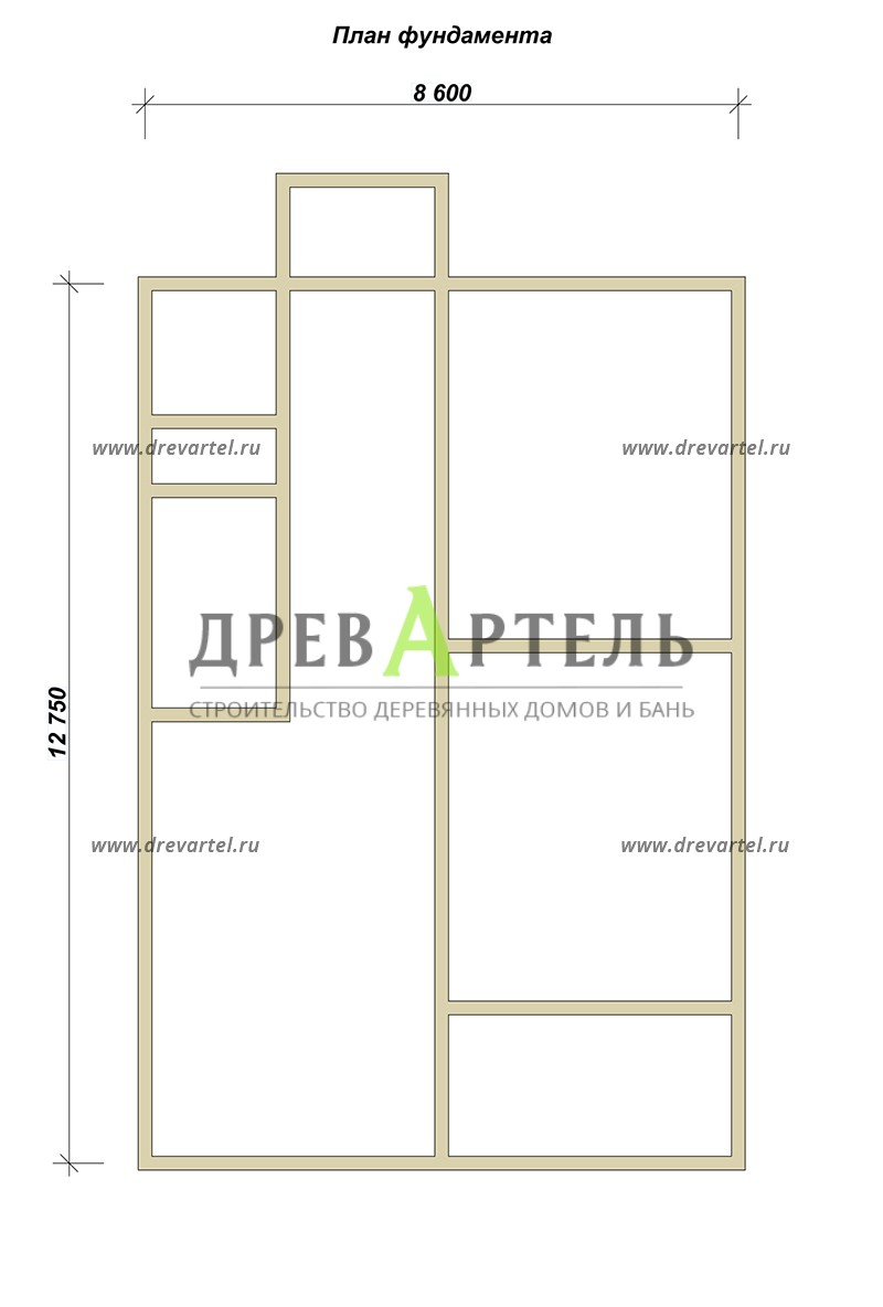 План ленточного фундамента - Дом из бруса 8х12 под ключ