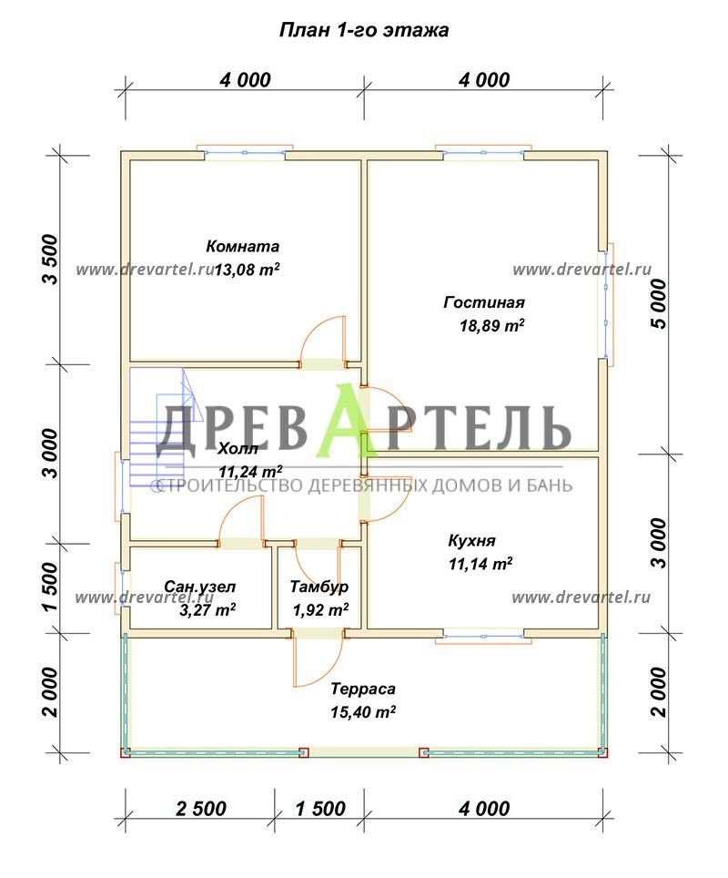 План 1-го этажа - Полутораэтажный дом из бруса 8х10