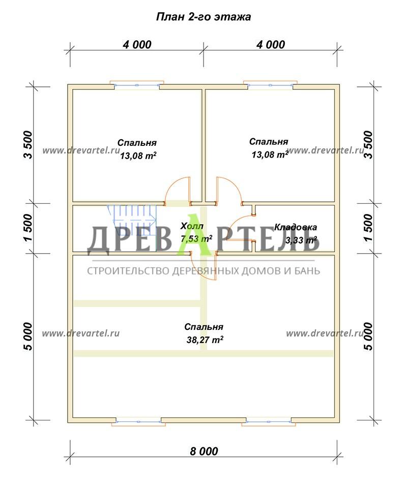 План 2-го этажа - Полутораэтажный дом из бруса 8х10