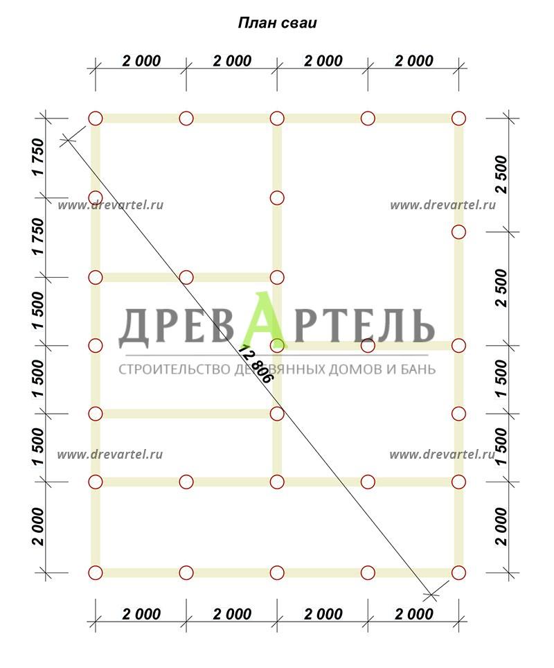 План свайного фундамента - Полутораэтажный дом из бруса 8х10
