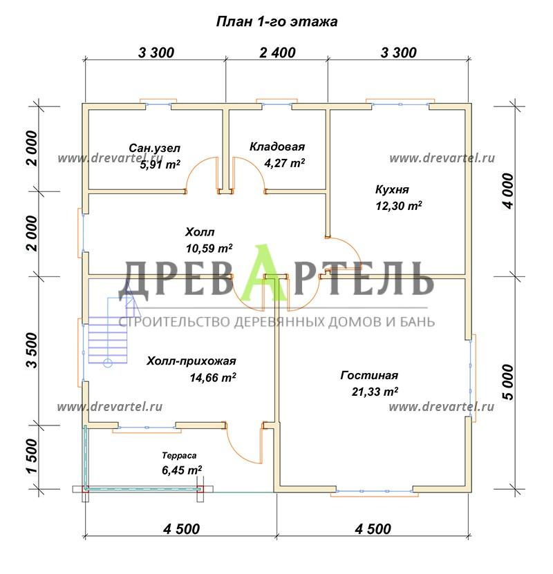 План 1-го этажа - Дом из бруса в полтора этажа 9х9