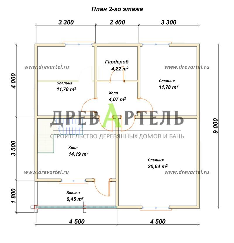 План 2-го этажа - Дом из бруса в полтора этажа 9х9