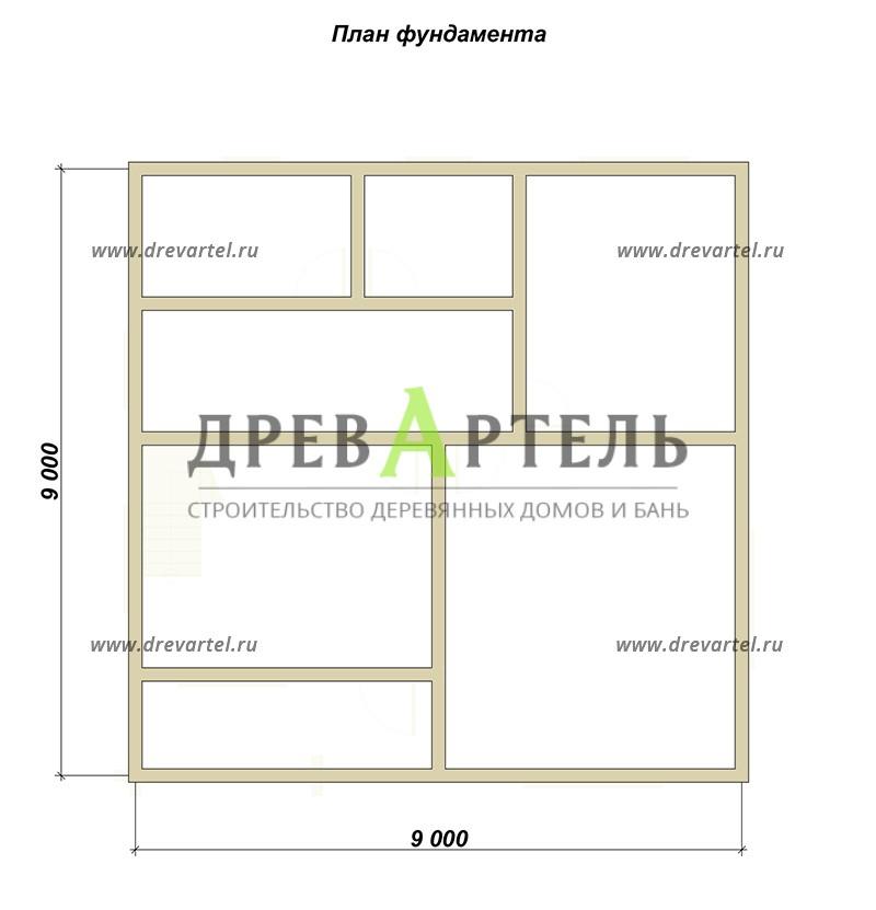 План ленточного фундамента - Дом из бруса в полтора этажа 9х9