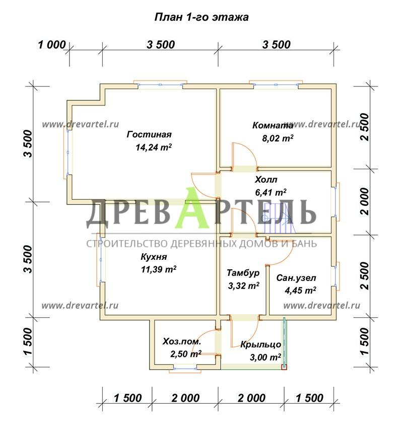 План 1-го этажа - Дом из бруса 7х7 в полтора этажа