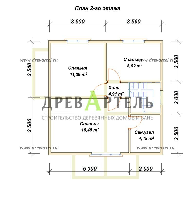 План 2-го этажа - Дом из бруса 7х7 в полтора этажа