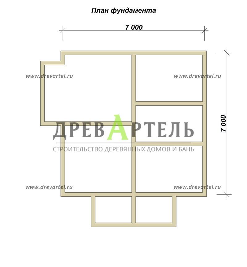 План ленточного фундамента - Дом из бруса 7х7 в полтора этажа