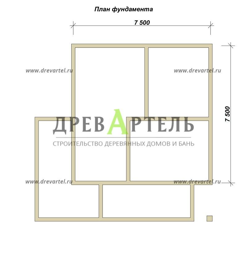 План ленточного фундамента - Дом из бруса 7х7 с террасой и балконом