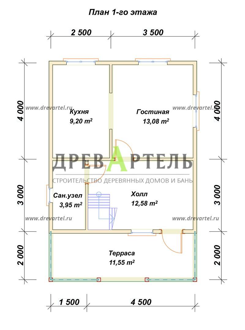 План 1-го этажа - Дом из бруса 6х9 с террасой и балконом