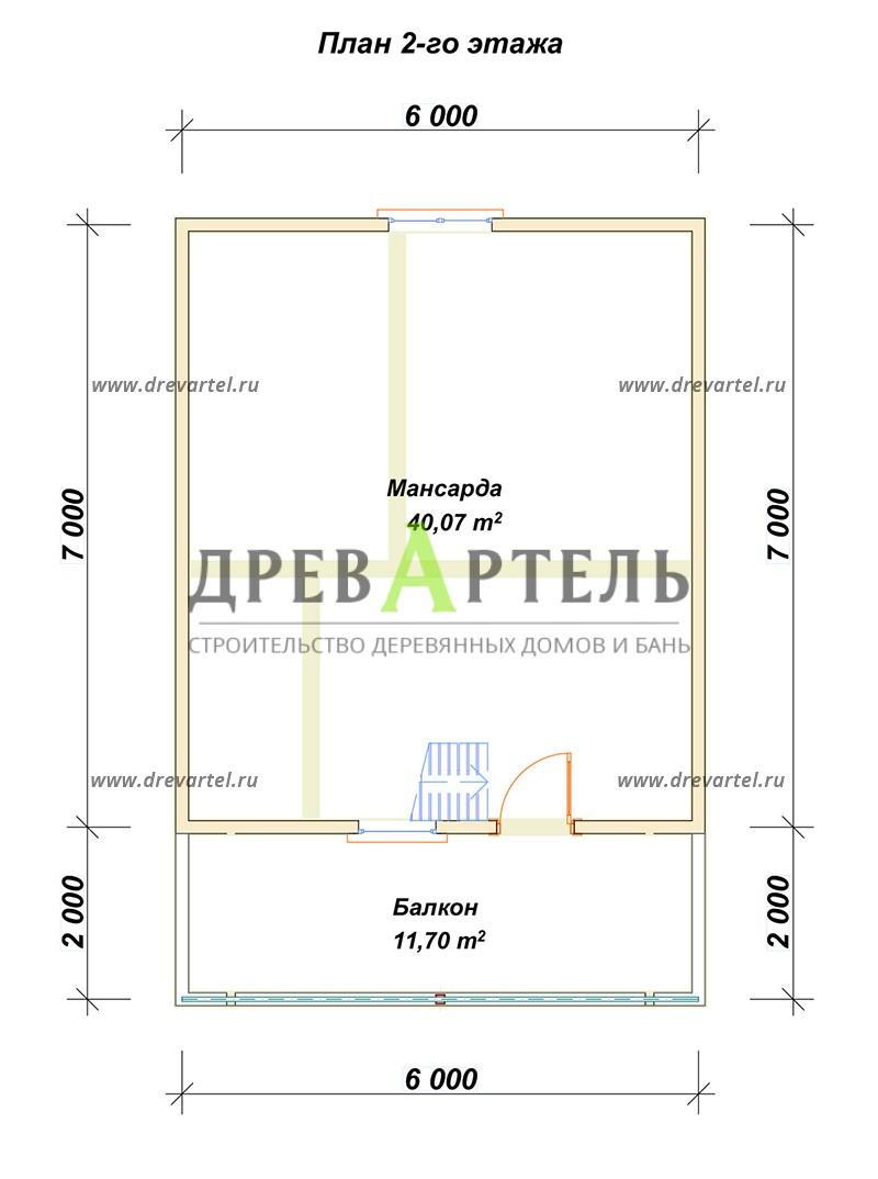 План 2-го этажа - Дом из бруса 6х9 с террасой и балконом