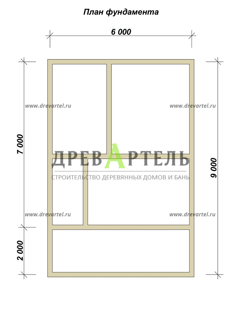 План ленточного фундамента - Дом из бруса 6х9 с террасой и балконом