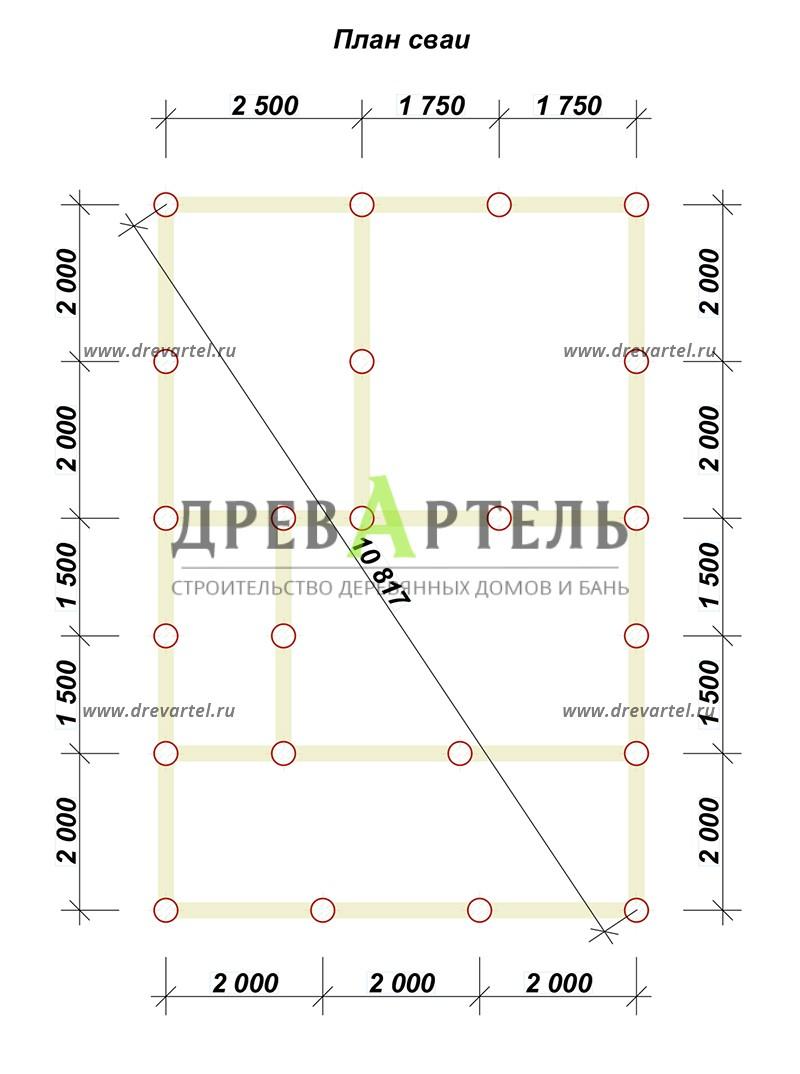 План свайного фундамента - Дом из бруса 6х9 с террасой и балконом
