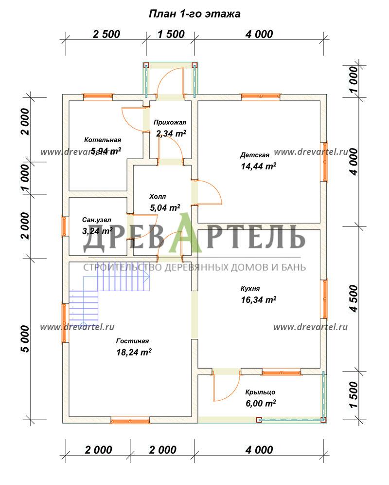План 1-го этажа - Дом из бруса 8х10 с котельной
