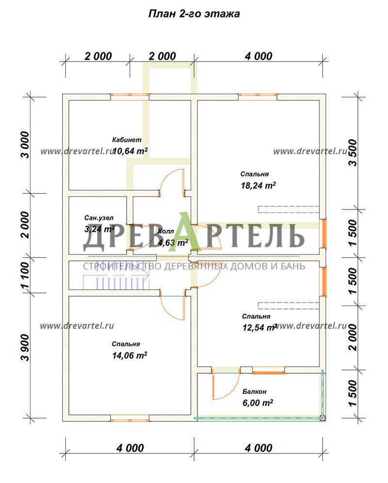 План 2-го этажа - Дом из бруса 8х10 с котельной