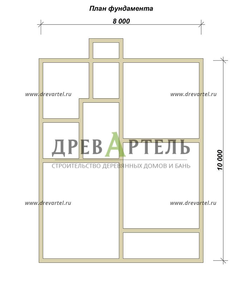 План ленточного фундамента - Дом из бруса 8х10 с котельной