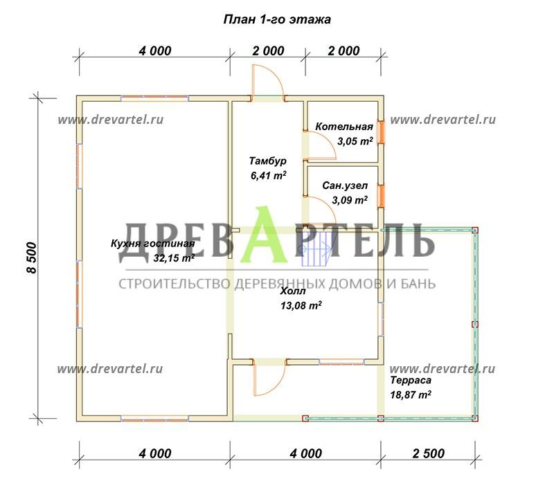 План 1-го этажа - Дом 8х8 с балконом и террасой