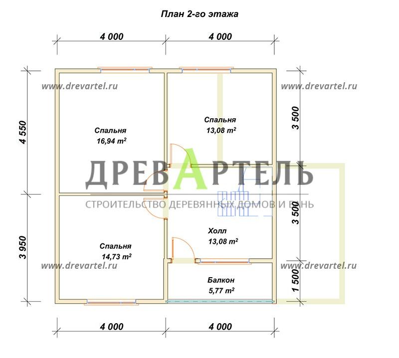 План 2-го этажа - Дом 8х8 с балконом и террасой