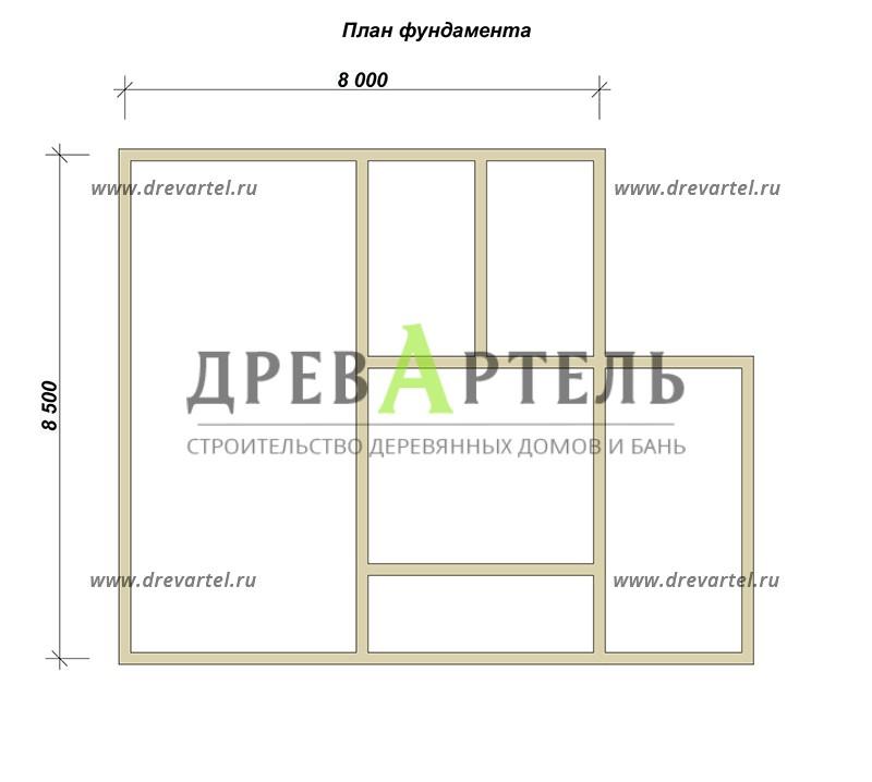 План ленточного фундамента - Дом 8х8 с балконом и террасой