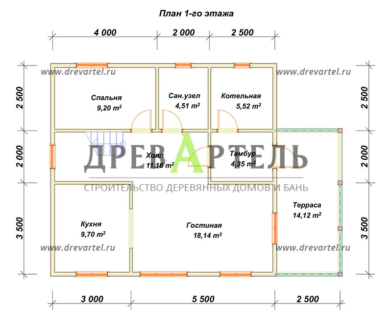 План 1-го этажа - Дом из бруса 8х8 с котельной