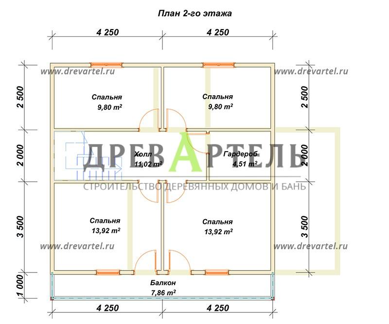 План 2-го этажа - Дом из бруса 8х8 с котельной
