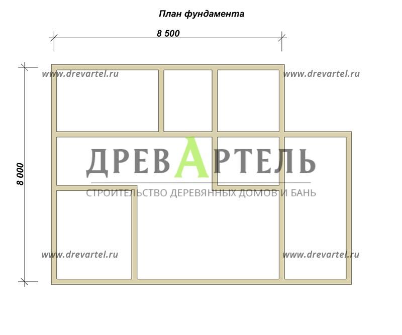 План ленточного фундамента - Дом из бруса 8х8 с котельной