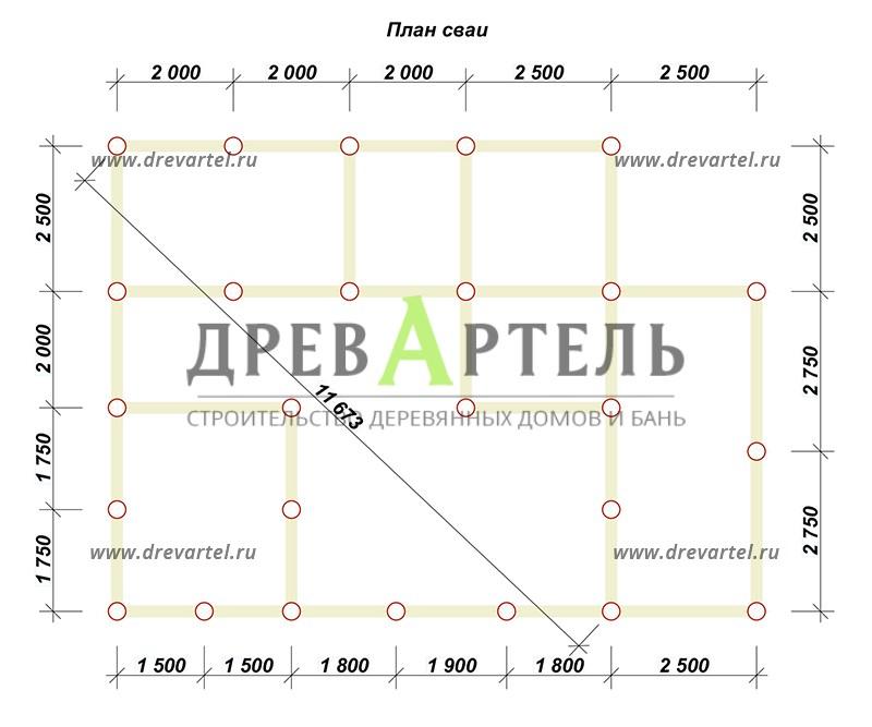План свайного фундамента - Дом из бруса 8х8 с котельной