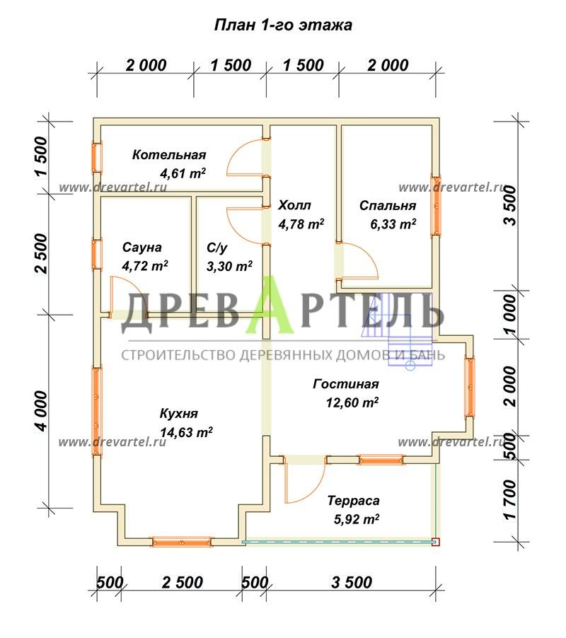План 1-го этажа - Дом из профилированного бруса 7х8