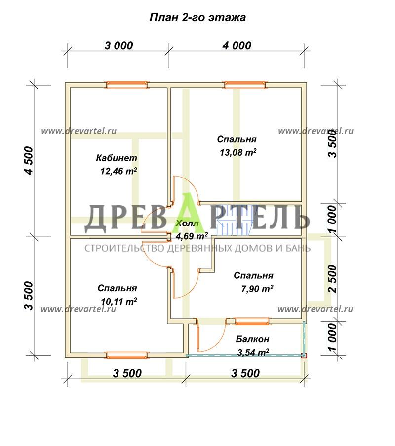 План 2-го этажа - Дом из профилированного бруса 7х8