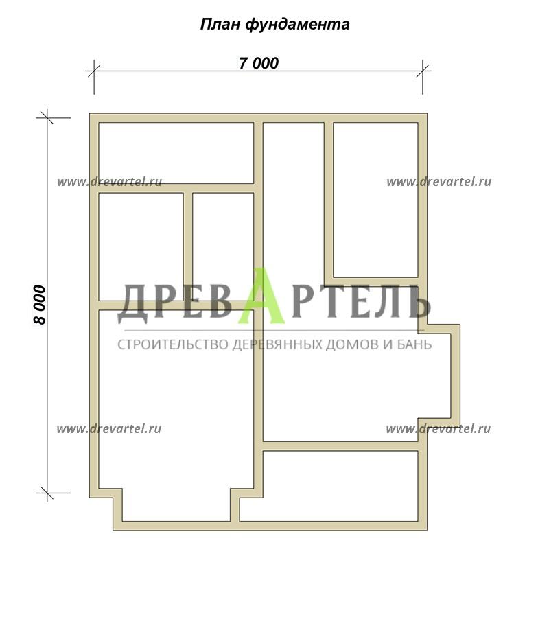 План ленточного фундамента - Дом из профилированного бруса 7х8
