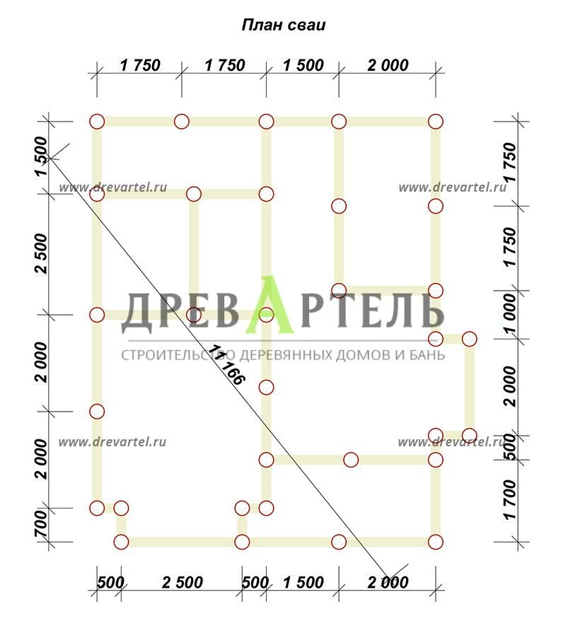 План свайного фундамента - Дом из профилированного бруса 7х8