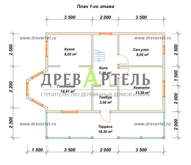 План 1-го этажа - Двухэтажный дом 6х9 с балконом и террасой