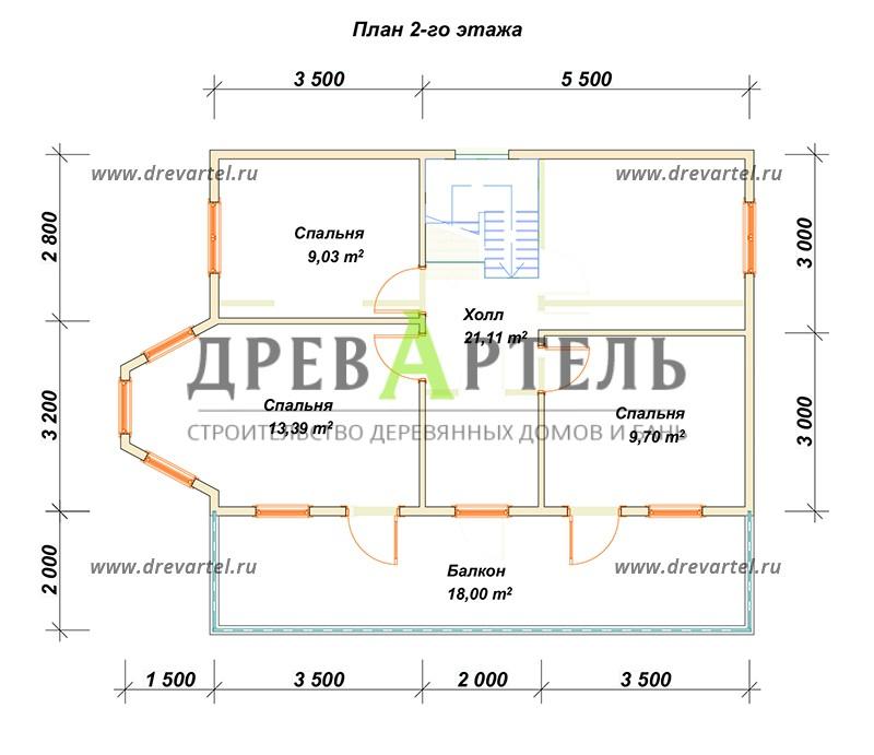 План 2-го этажа - Двухэтажный дом 6х9 с балконом и террасой