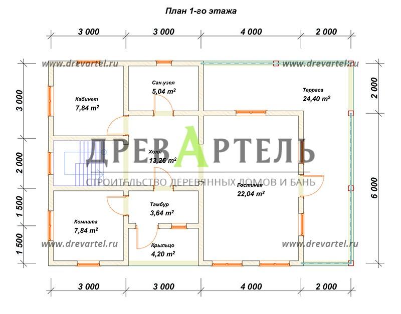 План 1-го этажа - Дом из бруса 8х10 с террасой и балконом