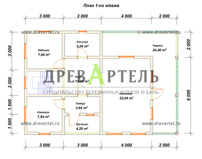 План 1-го этажа - Сруб дома 8х10 из бревна